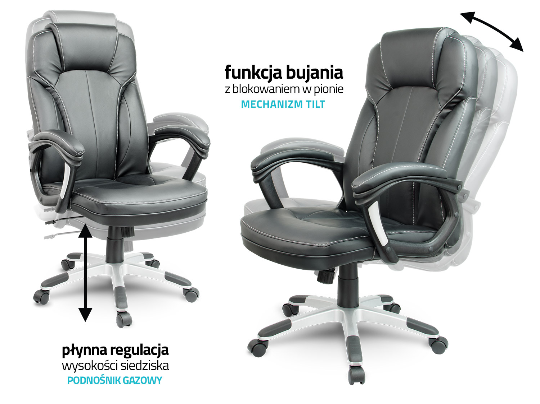 Dodatkowe Fotel biurowy skórzany Sofotel EG-222 brązowy HO75