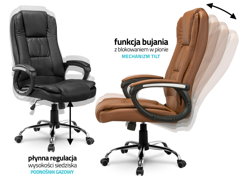 Niesamowite Fotel biurowy skórzany Sofotel EG-230 czarny BG48