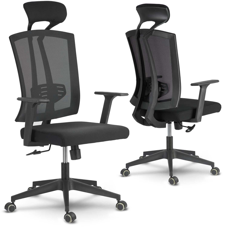 Fotel biurowy obrotowy z mikrosiatki Sofotel Karun czarny